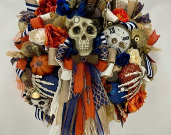 Halloween Wreath Fall Wreath Fire-Singed Sinister Macabre Hanged Skeleton Wreath Autumn Wreath