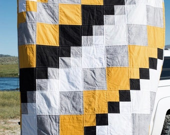 Mustard black and grey TWIN SIZE quilt
