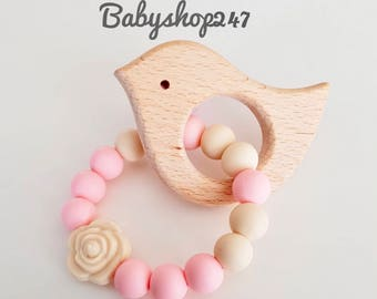 Organic Wooden Teether / Teething toy, Girl Teethertoy, Holzspielzeug, Bird Teether