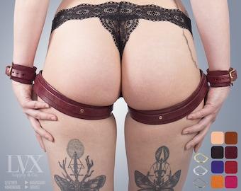 Sewn-in BDSM Leg Harness & Cuffs Set | Leather Bondage Cuffs | Thigh Garters DDLG Submissive Slave Femdom | Thigh Harness by LVX Supply
