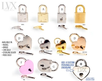 Engraved Lock and Key Padlock for BDSM Bondage Collar Cuffs Harness DDlG Slave Femdom Submissive Slave   Custom & Personalized by LVX Supply