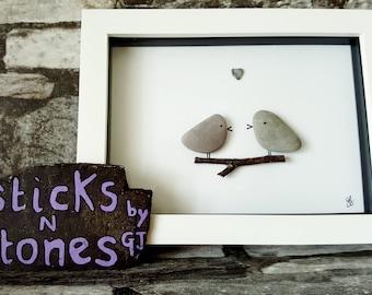 Pebble Art Picture 'Love Birds' - Ideal for Valentine - Gift for Partner - Family Member - Birthday - Anniversary