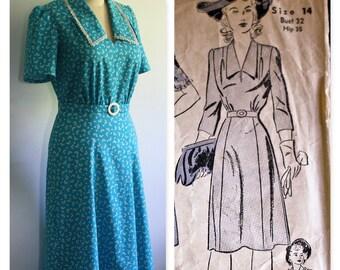 """1940's Vintage Reproduction Cotton Dress, Bust 36"""""""