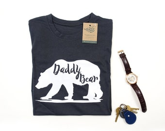 151167d11 Daddy Bear 100% Organic Cotton Shirt, Fathers Day Gift, Mens Tops, Gifts  For Men, Dad Son, Dad Daughter, Baby Shower Gift, UK Made
