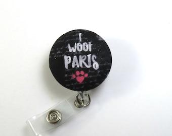 Retractable Badge Holder Paris Badge Holder Paris lanyard Paris Heart Lanyard PARIS Fabric Badge Reel