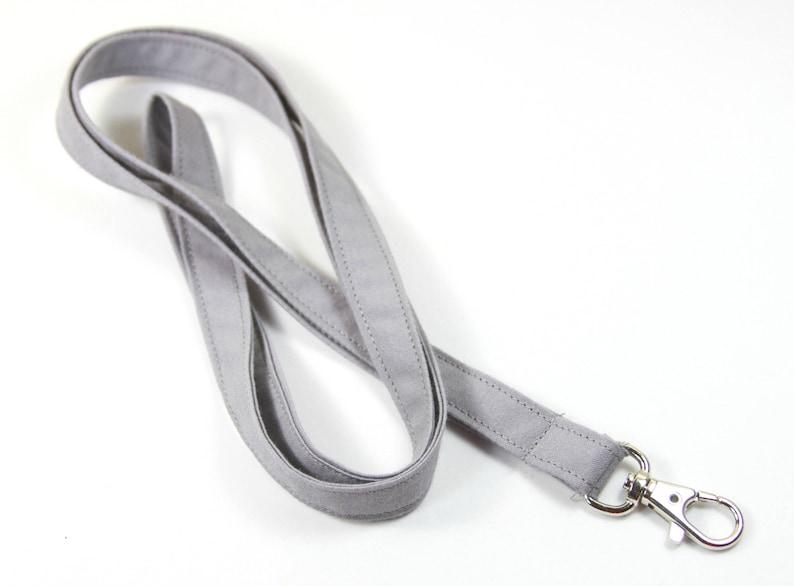 GRAY fabric lanyard gray badge holder Skinny gray lanyard Thin gray badge holder Plain badge holder