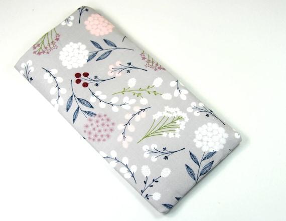 Sac en tissu gypsophile, étui en tissu gris, gypsophile fleur sac floral sacs, Etui a lunettes, sac Eyelgasses, pression bouton
