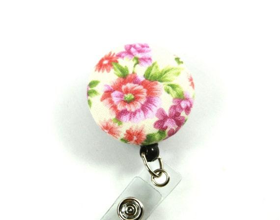 FLEURS tissu Badge bobine, rétractable badge enrouleur, porte-Badge de fleurs roses