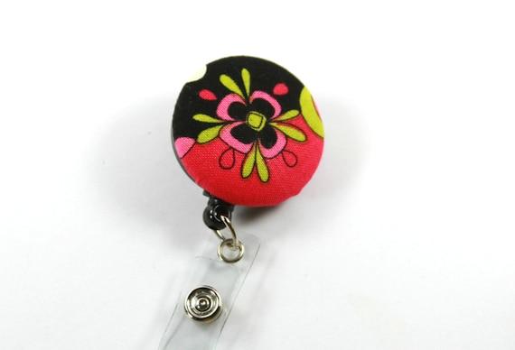 FLEUR tissu cordon porte-Badge bobine, bobine de bouton rétractable, fleur. Fleur Badge bobine, bouton Floral Badge, Badge coloré bobine
