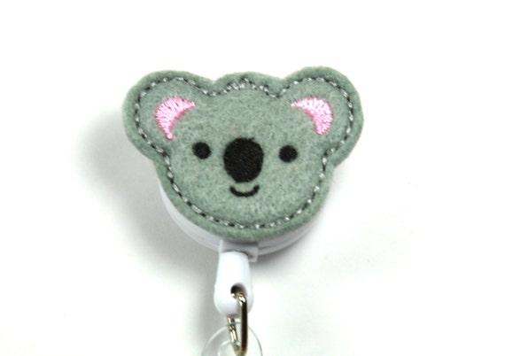 Koala lanyard Retractable badge reel Koala badge holder KOALA Felt Badge Reel