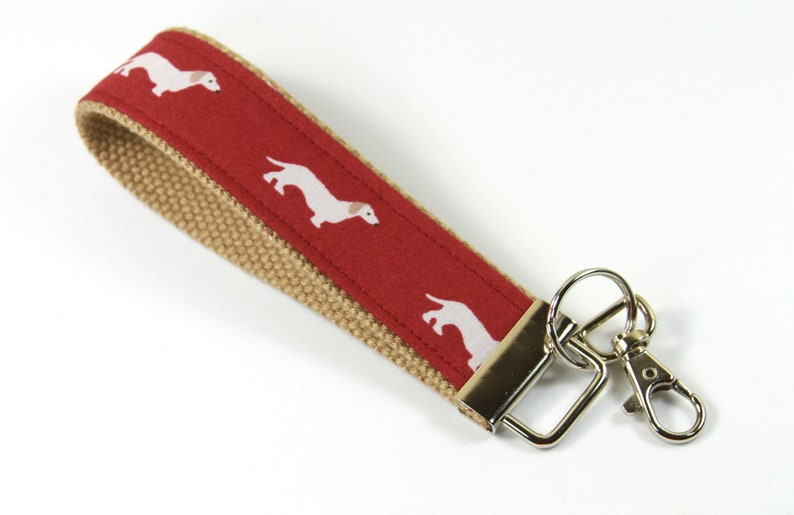 Red Crab Keychain Blue Fabric Key Fob