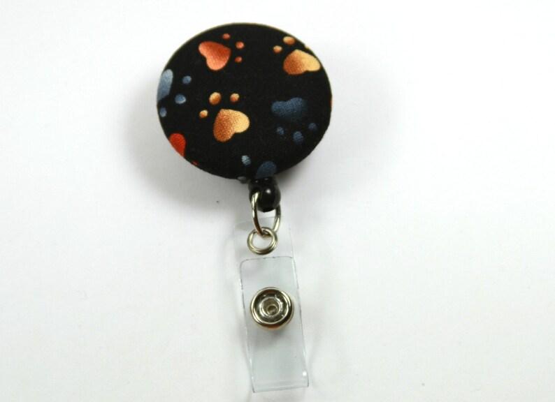 Paw Badge Reel Black Badge Reel PAW Fabric Lanyard Retractable Badge Reel