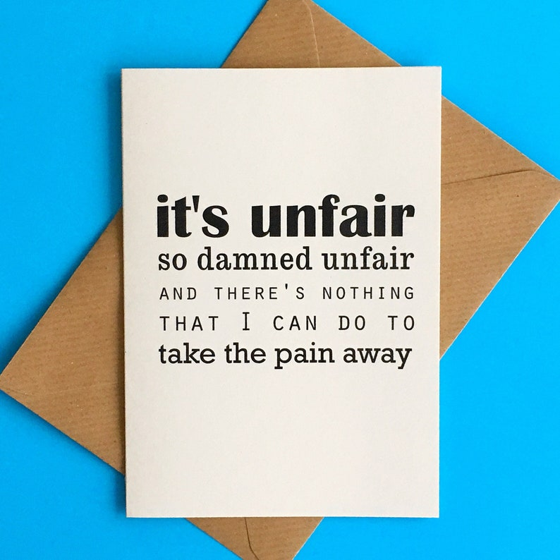 Miscarriage and grief card  It's Unfair / Thinking of you image 0