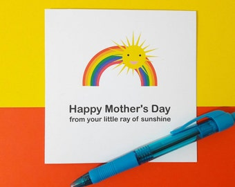 Happy Mother's Day | ray of sunshine | sunshine and rainbows card | thank you card