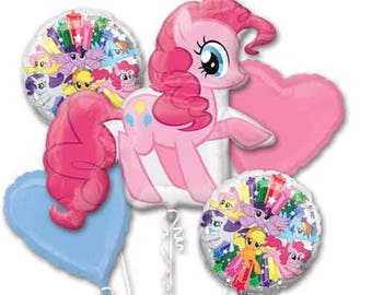 5 Piece My Little Pony Balloon Bouquet PINKIE PIE Birthday Party Girls