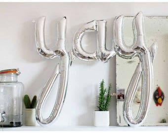 45 pouces YAY Script ballon, or ou argent, mariage, Graduation, fête d'anniversaire, fiançailles, Bridal Shower, douche de bébé, ballon de calligraphie