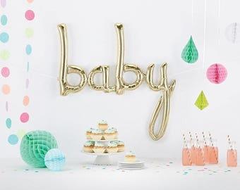 31 pouces bébé Script ballon, or blanc, Baby Shower, ballon de calligraphie, Air-remplissage uniquement, hermétique