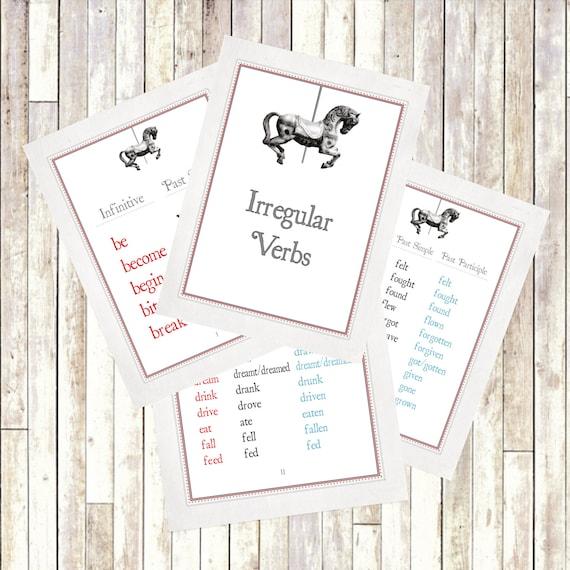 Verbes Irreguliers Anglais Flash Cartes Easy Pour Etsy