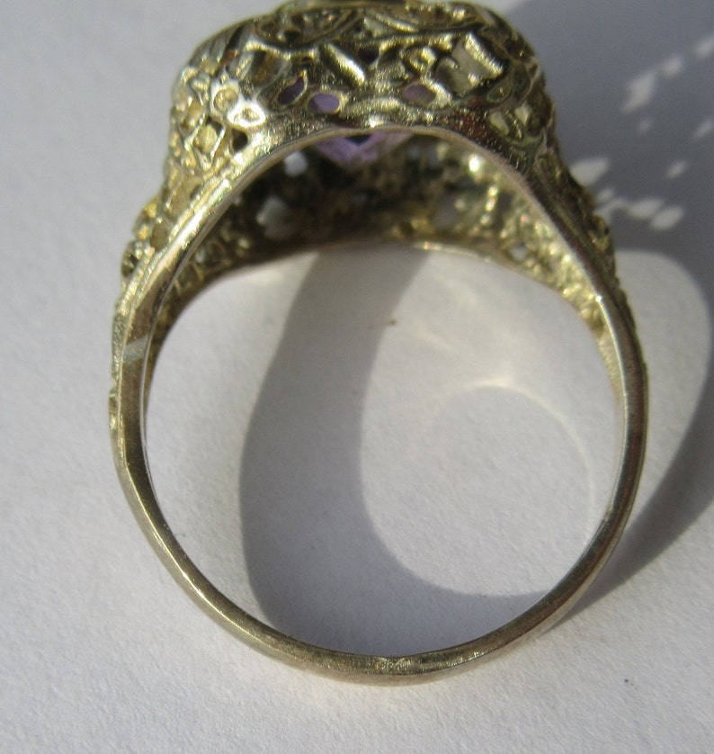 Sterling Silver Ring Vintage Inspired Ring Amethyst Silver Amethyst Ring Amethyst Ring Amethyst Jewelry Classic Ring Dressy Ring