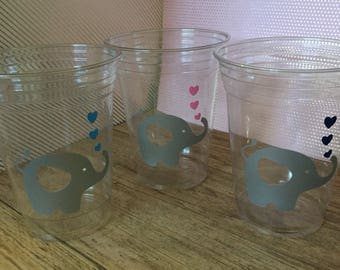 12 Elephant Gender Reveal party cups