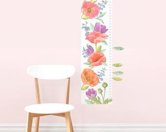 Poppy Mix Growth Chart - Personalized - Fabric Wall Decal - Flower Shop - Mej Mej