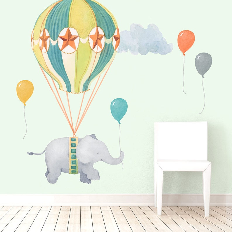 Nursery Daydreams Collection Mej Mej Fabric Wall Decal Balloon Elephant