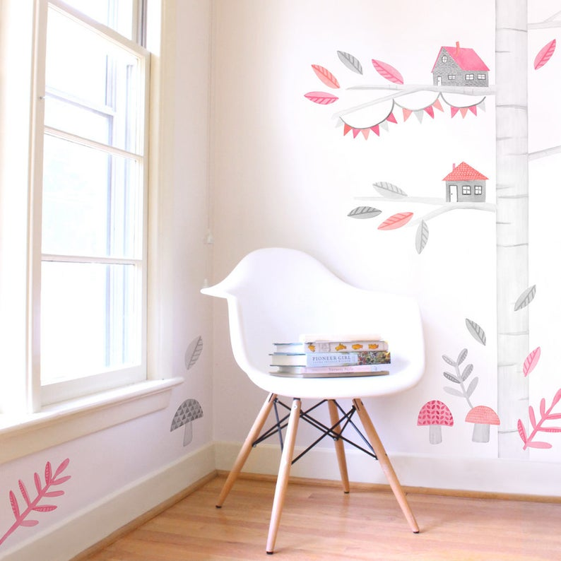 Tree Kit Mej Mej Fabric Wall Decal Woodland Pink Collection