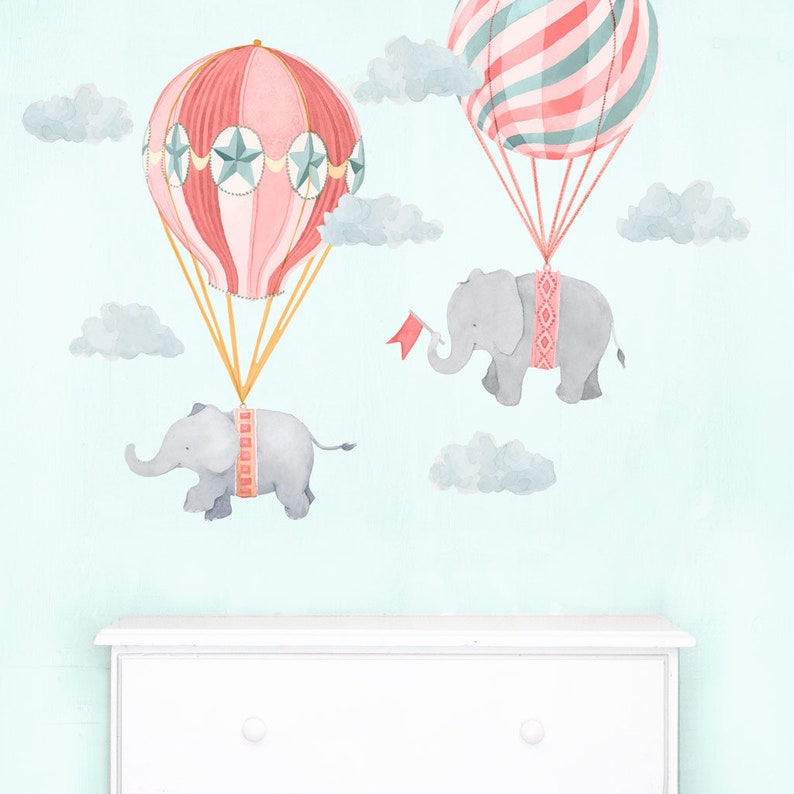 Mej Mej Elephant Friends Fabric Wall Decal Pink Nursery Daydreams Collection