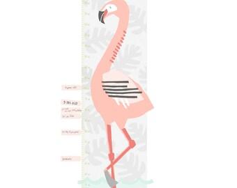 Custom Flamingo Growth Chart - Fabric Wall Decal - Tropical - Mej Mej