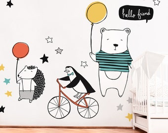 Bear Hedgehog and Penguin - Fabric Wall Decal - Hello There - Mej Mej