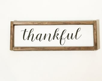 Thankful, Wood Sign, Thankful Sign, Kitchen Decor, Gallery Wall, Rustic Decor, Farmhouse, Blessed, Wooden Sign, Black and White