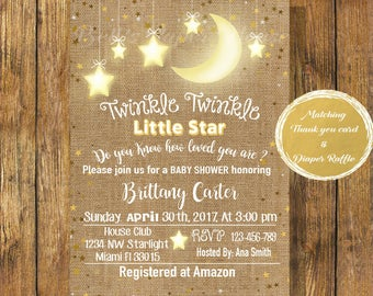 Digital file or Printed-Twinkle Twinkle Little Star Gold Burlap Baby Shower Invitation-Do You Know How Loved You Are-Customize-Free Shipping
