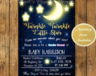 Digital file or Printed-Twinkle Twinkle Little Star Gender Reveal Invitation-Gender Reveal Party-Blue&Pink- How We Wonder What You Are-