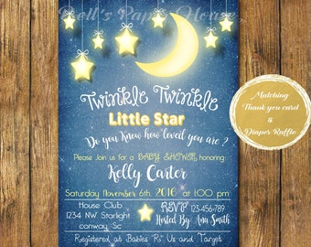 Digital file or Printed-Twinkle Twinkle Little Star Baby Shower Invitation-How We Wonder What You Are - Stars-Gold-Customize-Free Shipping