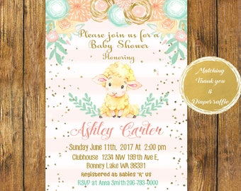 Digital file or Printed-Floral Sheep Baby Shower Girl Invitation-Little Lamb Baby Shower Invitation-Sheep Baby Shower-Watercolor Printable