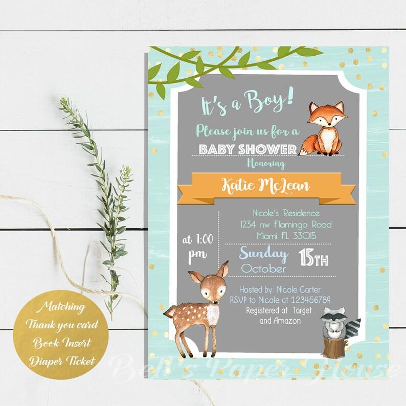 Digital File Or Printed Woodland Baby Shower Invitation Baby Boy Woodland Animals Invitation Forest Baby Shower Invitation Free Shipping
