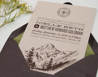 Rustic Wedding, Mountain Invitations, Mountain Wedding, Summer Wedding, Kraft Paper Invitation, Outdoor Wedding Invitation / DEPOSIT