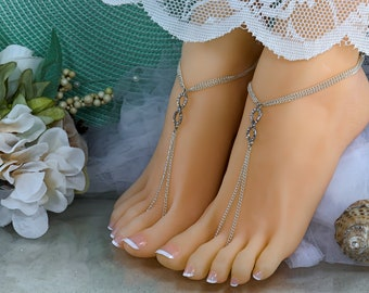 9cc7609a1435 Silver Infinity Foot Chain Rhinestone Barefoot Sandal Bridal Beach Wedding  Thong Jewelry Boho Anklet