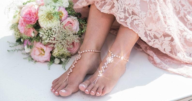 5c3806e30 Rose Gold Boho Foot Chain Jewelry Bridal Beach Wedding