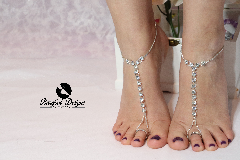 Silver Diamond Rhinestone Barefoot Sandal Chain Barefoot  241065e4b2a8