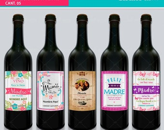 Templetes templates for bottle wine Mother's Day
