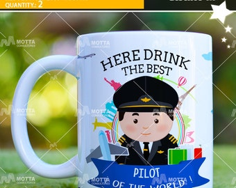 Templetes here Drink the Best Pilot and flight Attendant of the Word por MUG