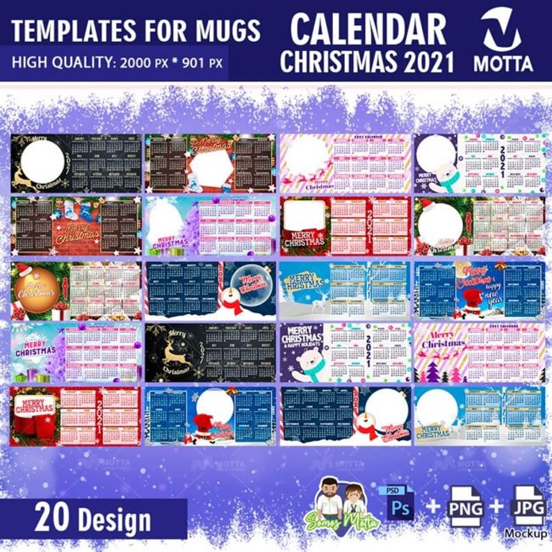 PSD Calendar 2021 sublimation templates Calendar for mug ...