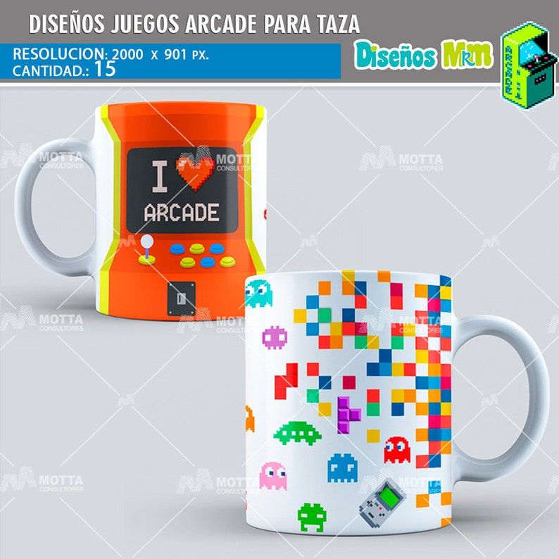 7d283e2d2b832 Templetes Plantillas para Mugs Juegos ARCADE para SUBLIMAR