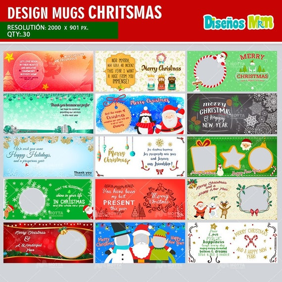 sublimation templates psd merry christmas for mug design etsy