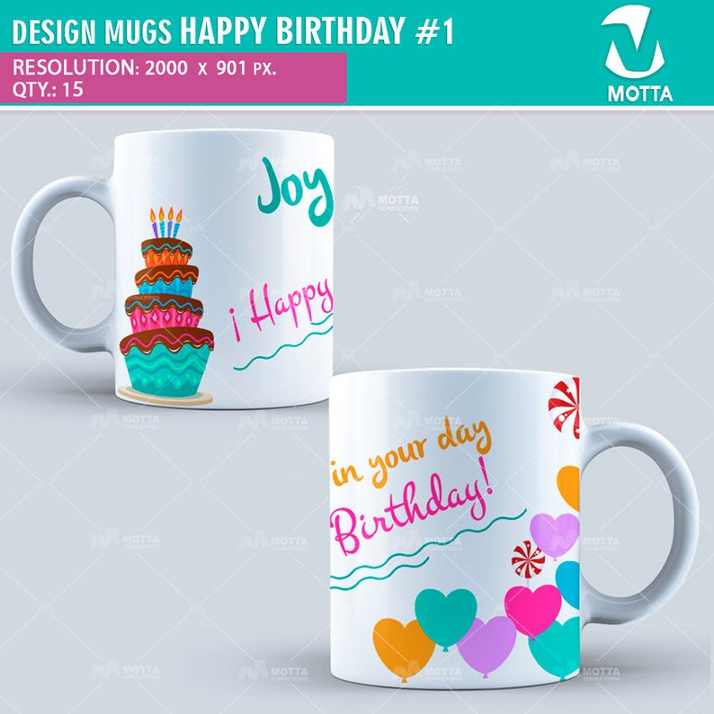Design Sublimation MUGS HAPPY BIRTHDAY, sublimation template, sublimation  blanks, Birthday Gift, Birthday Mug, Mug Birthday, mug gift idea