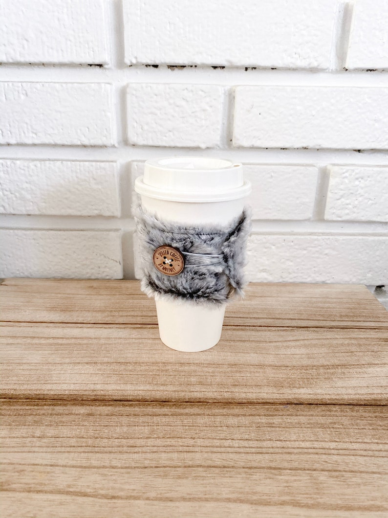 Grey Furr Button To Go Cup Cozie image 0