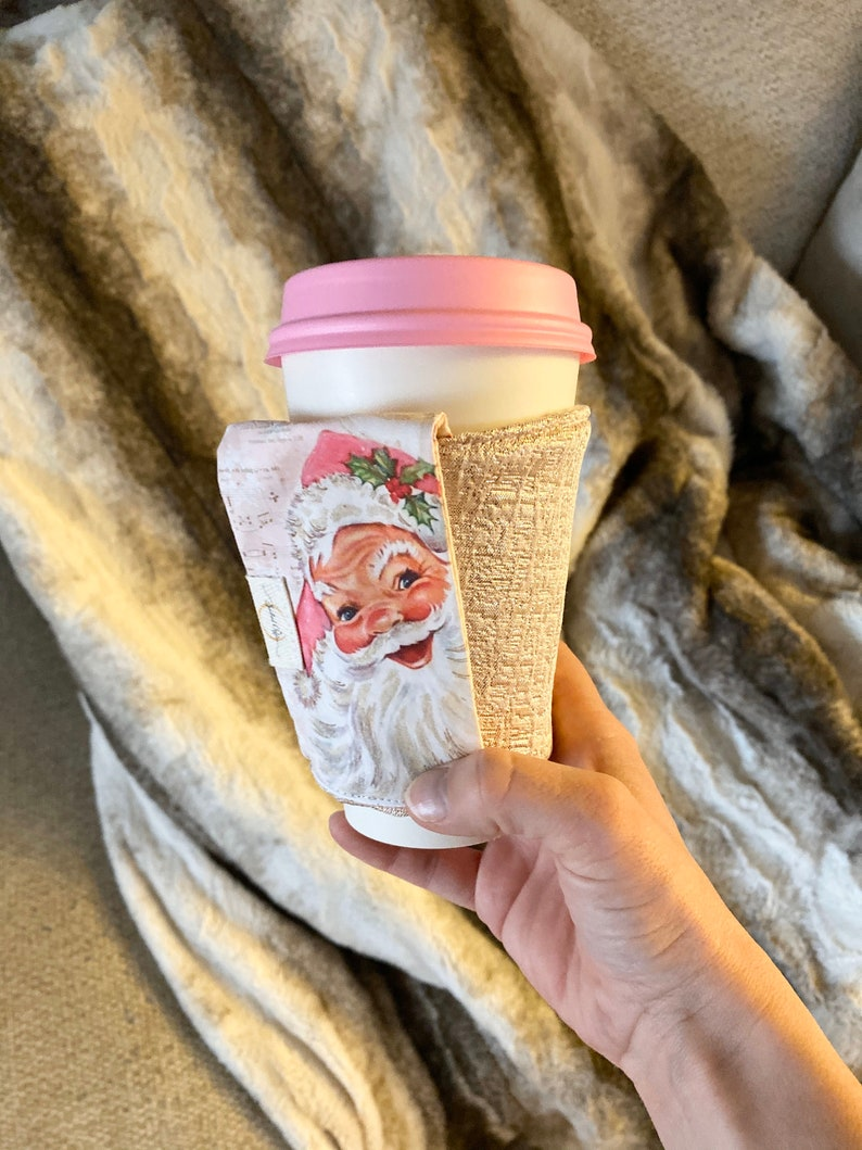 Pink Santa/Tinsle Handle Cozie For Starbucks To-Go Cups image 0