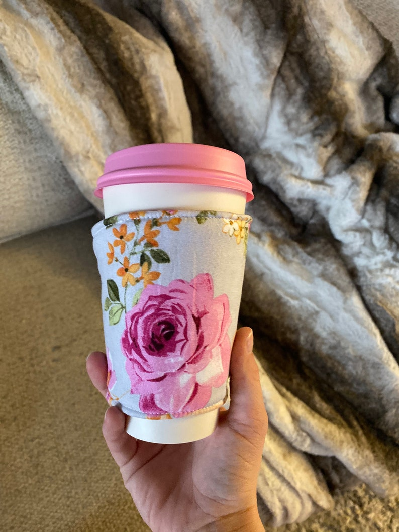Reversible floral and purple To-Go Cup Cozie image 0