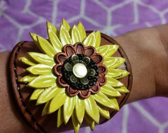 Leather sunflower cuff, made to order